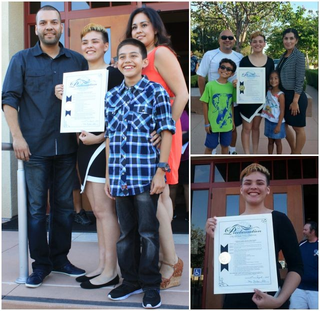 (photo, left) Proud Mom and Dad plus younger brother Juan Medina III pose for photos with Andre Medina outside the Chula Vista City Hall.