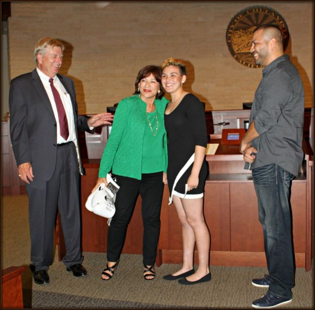 "How many people do you know that received a Proclamation from the Mayor? Inside Council Chambers all regular business stopped to salute this young champion Andre ""The Boss"" Medina. (l to r) Council member Steve Miesen, Mayor Salas, Andrea Medina, Juan Medina, Jr."