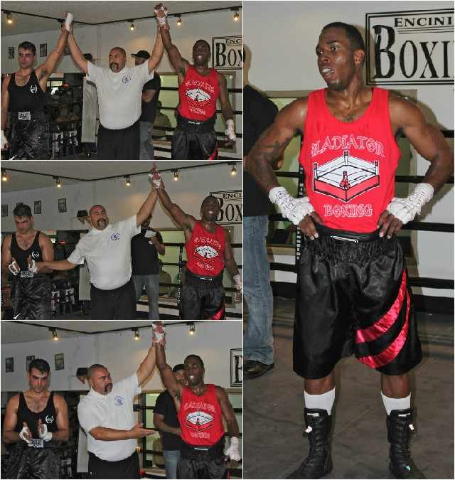 Robert Latrique (bottom, center) of the Gladiator School of Boxing in Spring Valley, Calif., proved to be one of those warriors who just never gives up.