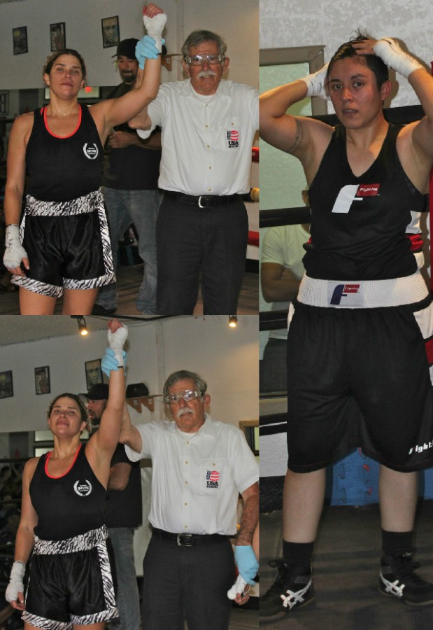 At the conclusion of Bout #2, it was Leslie Pannunzio having her arm raised in victory by referee Will White. All photos: Jim Wyatt