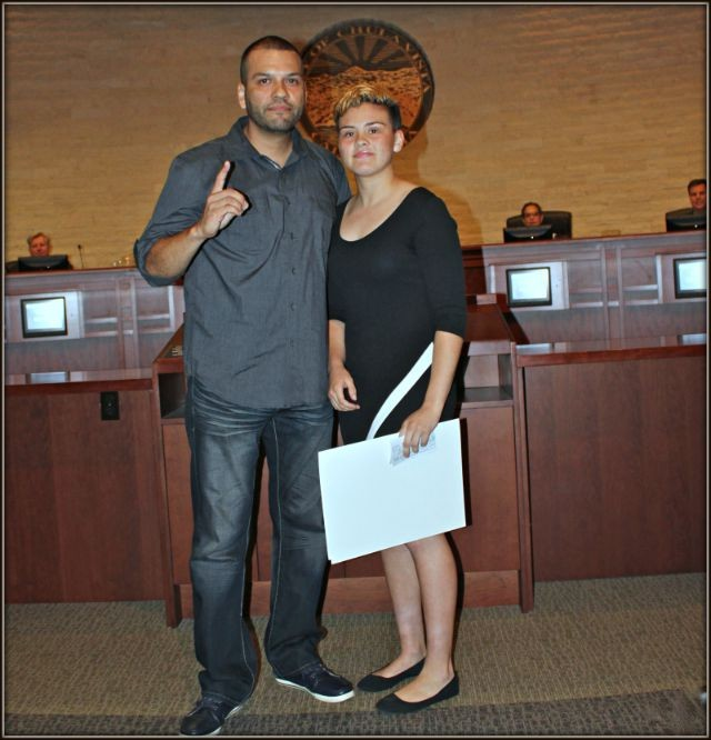 Together, Juan Medina, Jr., the proud coach and father, and his daughter Andrea stood there in the Chula Vista Council Chambers and listened to Mayor Mary Casillas Salas read off Andrea's many accomplishments.