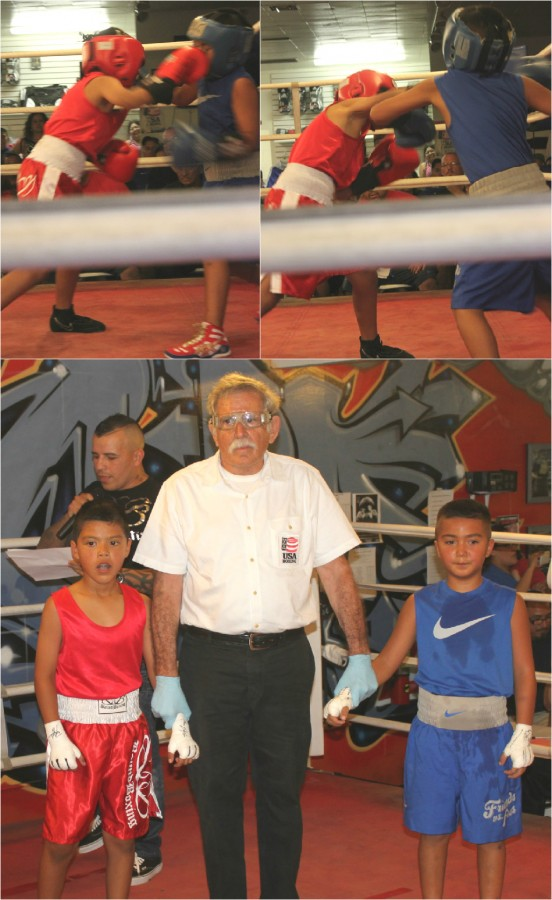 (below, l to r) Young boxers, Jan Carlo Meza and Danny Hernandez awaiting the judges' scores. In the end it was Jan Carlo Meza winning by an unanimous decision. Photos: Jim Wyatt