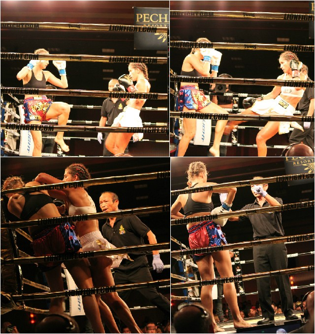 (bottom, right) Veteran referee and coach, Kru Puk issues Martyna Krol an 8-count. Photos: J. Wyatt