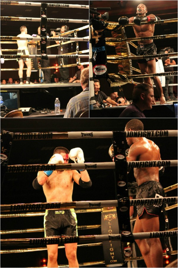 Devin Taylor looks over at his opponent Sean Madden who is being examined by the fight doctor.