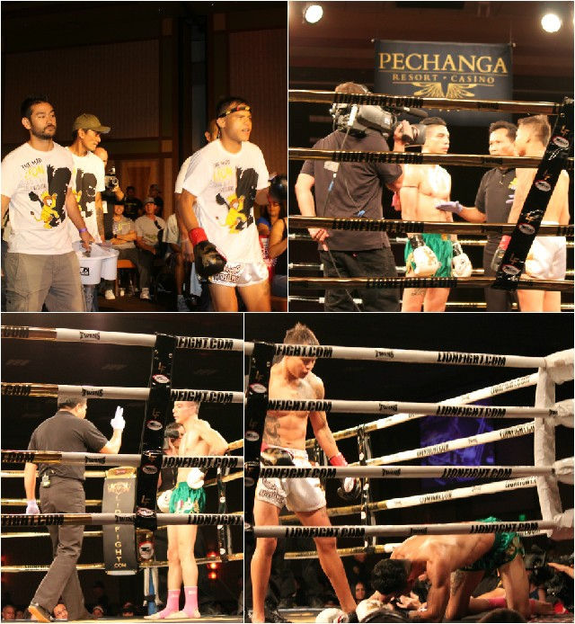 (top, left) Marvin Madariaga makes his way the ring. (bottom, right) soon after his opponent is on the canvass.