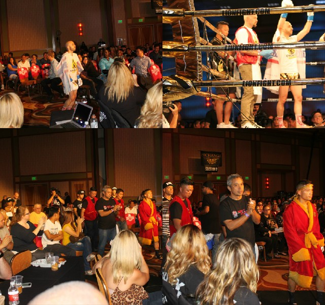 Fighters, Stan Mancebo (top) and Victor Saravia (bottom) make their way to the ring.