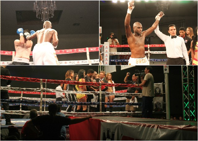(top, right) Brian Jones has his arm raised in victory by referee Cristian Curiel.