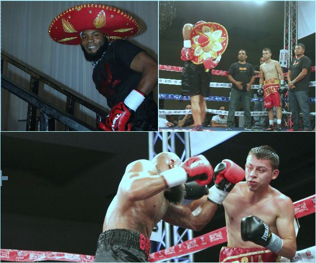 (top, left) Demond Brock, wearing the fancy Mexican sombrero gets ready to make his ring entrance.