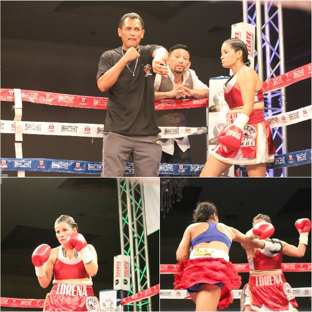 (top) Lorena Arias makes her ring entrance alongside her trainer Paco Lety and able cornerman Adan Gamboa.