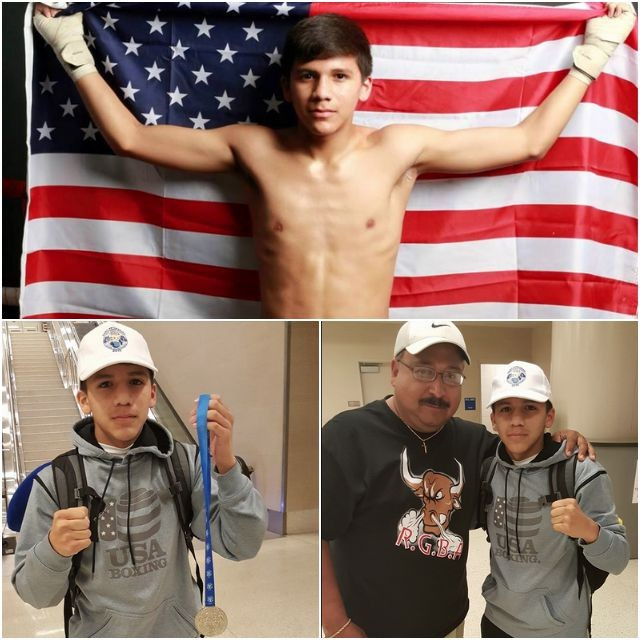 Collage of Jesse Rodriguez photos. (below, right) Rodriguez is joined by inspirational family friend Roger Nava.
