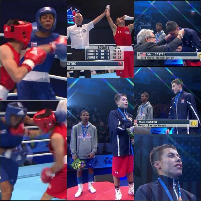 Collage shows the victorious Marc Castro defeating from Cuba.