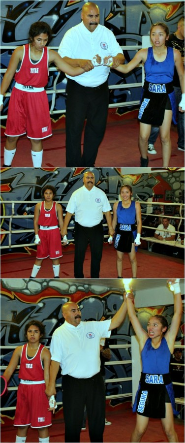 In the end, it was Sara Segura of Baja Boxing having her arm raised in victory by referee Hondo Fontan.