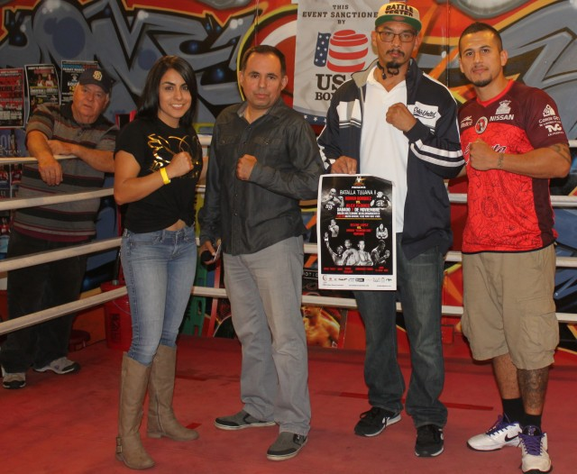 On hand to promote his next show in Tijuana at the Salon Mezzanine on November 7, 2015 was former boxer now promoter Saul Rios, co-promoter Lou Messina, plus two of the combatants on that show Amaris Quintana and George Escalante. Also present, Adrian Vargas who is scheduled to face on the October 23rd Bobby D Present s show at the Four Points bt Sheraton Hotel in Kearny Mesa.