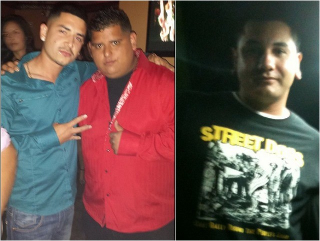 (top photo, left) Ernesto El Mayimbe Solano (r) poses for a photo with his long time friend Luissito El M Zamora (l). (photo, right) Shows Ivan Lemus back when he was struggling with the calories.