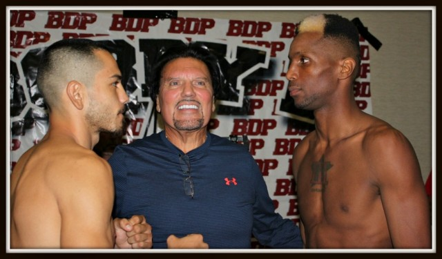 San Diego boxing promoter Bobby DePhilippis stands between the combatants Emmanuel Robles (l) and Leon Spinks III who will do battle tomorrow night, Friday October 23rd at the Four Points By Sheraton Hotel in San Diego.