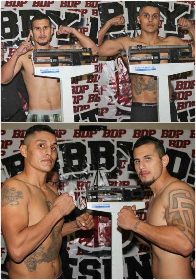 (bottom) Jorge Marquez (l) and Adrian Vargas (r) face off after their weigh-in. Photos: Jim Wyatt