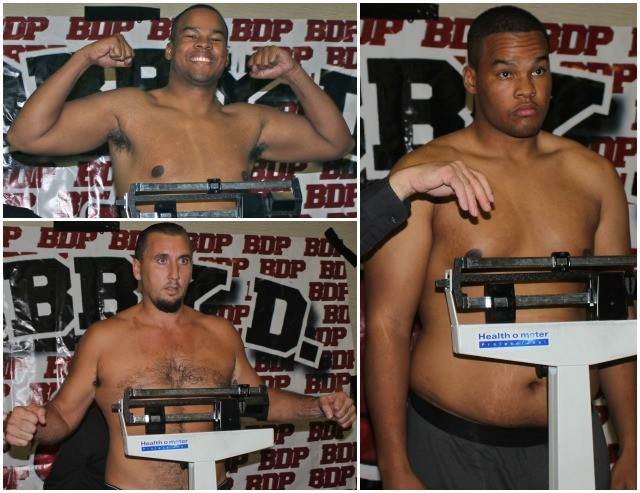 (bottom, left) heavyweight boxer Matt McKinney. (right) heavyweight boxer Keishan Hill at Thursday's weigh-ins at the Four Point By Sheraton Hotel in Kearny Mesa.