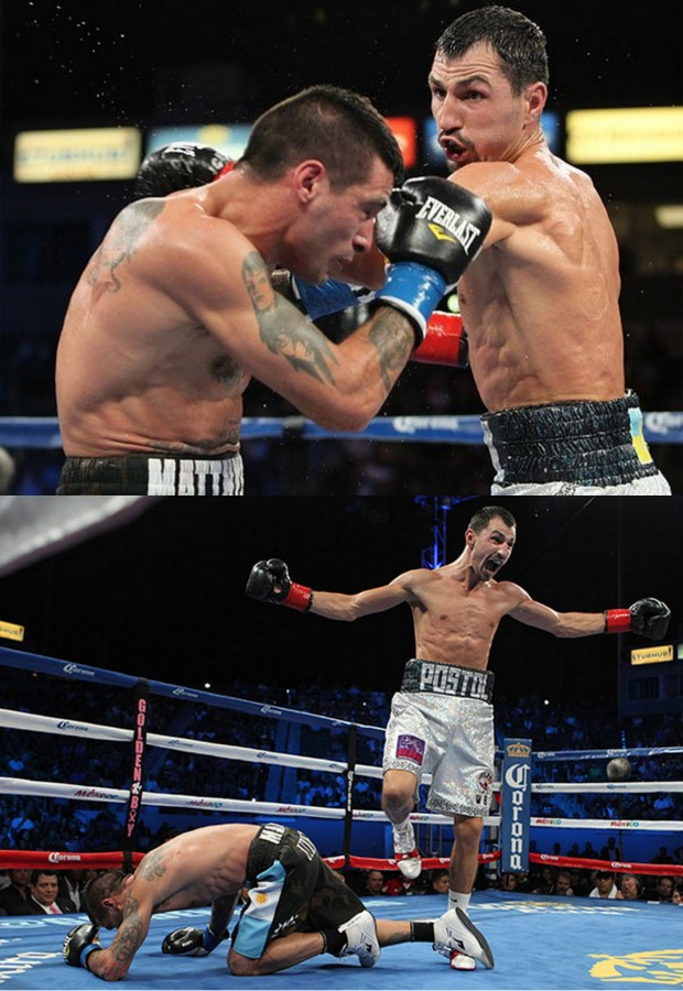 (bottom) After getting slugged on the left side of his face see the veteran Lucas Matthysse go down and stay down for the full 10-count.