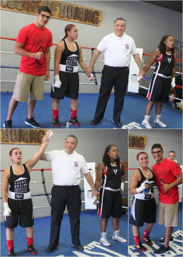After the announcement of the winner of Bout #3, Jessie Ramirez (left0 has her arm raised in victory.