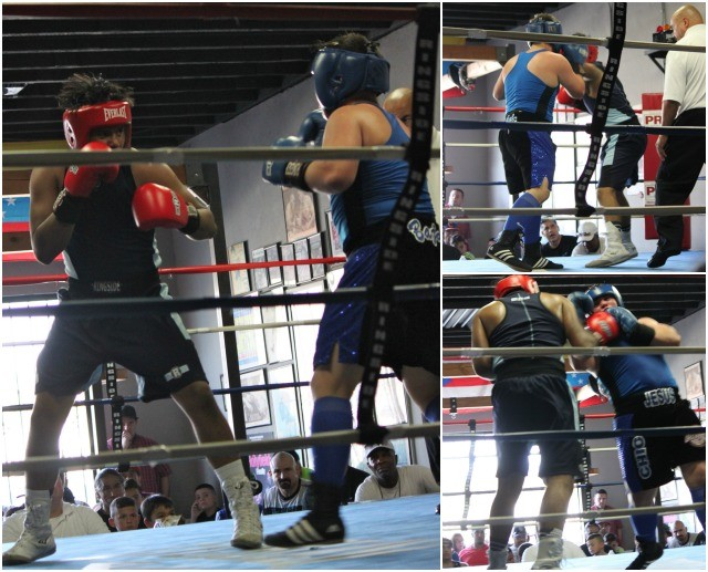 Bout #5 featured cruiserweights, the big boys, 15-year-old Oscar Amazan (195 lbs.) from the Temecula Boxing Club, Murrieta, Calif. taking on 16 year-old Jesus Chio (10-1, 195 lbs.) from Baja Boxing, Calexico.