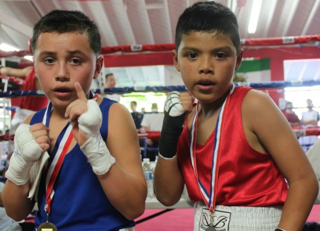 Sammy Vences (4-2, 73.2 pounds) of Max Impact Boxing, Oceanside, Calif. come away with the victory over 11 year-old Jon Carlos Meza