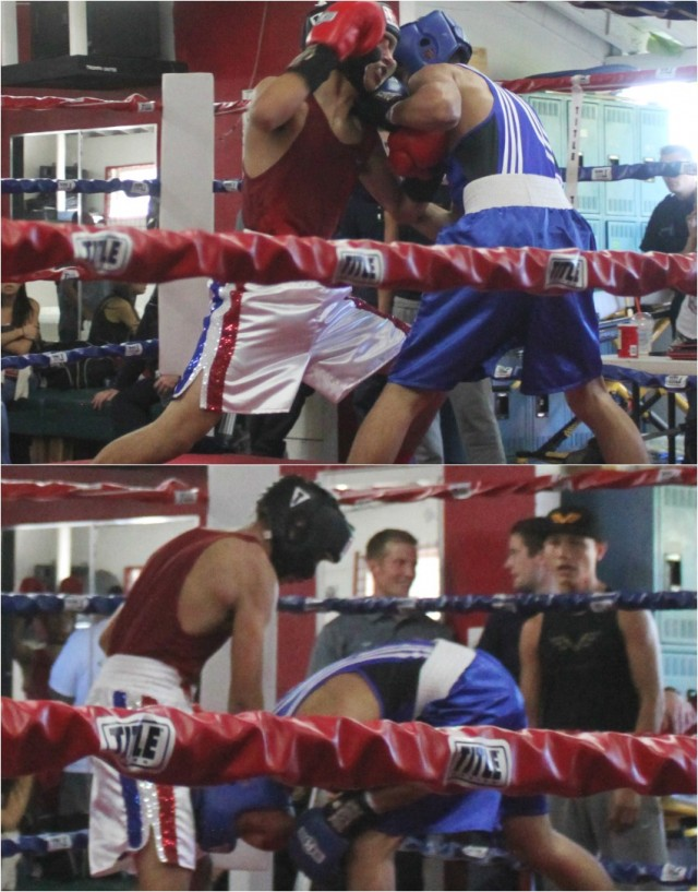 Since both boxers had sparred together they used a mirad of tactics to throw each other off. Photos; Jim Wyatt
