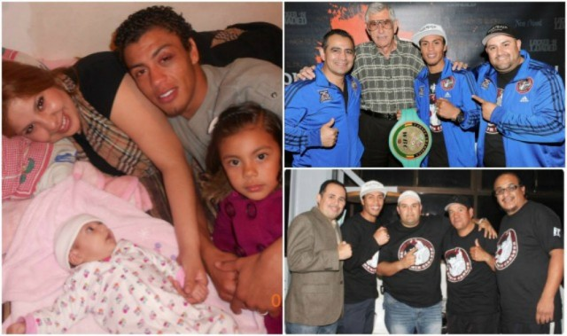 (photo left) After arriving home after one of his grueling bouts, pro boxer Carlos Carlson poses for a photo with his beautiful family. (top, right) In Carlos Carlson's corner you have (l to r) coach Miguel Reyes, Carlson's promoter Ken Thompson, Carlson and assistant coach Edgar Soto Sandoval, (bottom, right) Carlos is joined by another support group which includes promoter Saul Rios of the Borizteca Boxing Management Group.