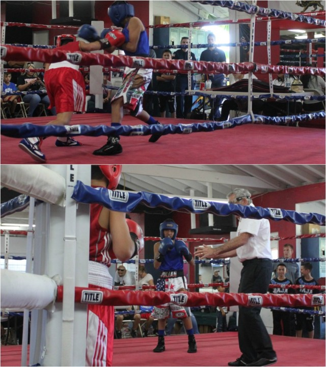 """Bout #2, it was 12 year-old Julius Ballo (89.4 lbs., 31-7) of the Bomber's Squad who trains at the RSD Boxing Club, Spring Valley gaining the tough victory over 13 year-old Julian Esteban """"The Mexican"""" Rojas"""