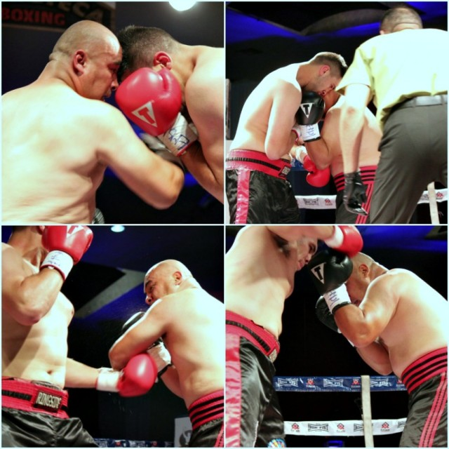(bottom, right) Borquez makes the fatal mistake of allowing Flores to clobber him with a big overhand right.