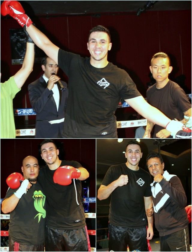 "(top) Alexander Flores has his arm raised in victory by referee Fernando Renteria. (below, right) Flores poses for a photo with the five time World Champion Manuel ""Mantecas"" Medina."