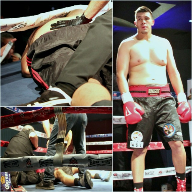 From the far off neutral corner, Alexander Flores looks across at his opponent Roman Borquez now lying on his stomach. With the power of Flores punch,