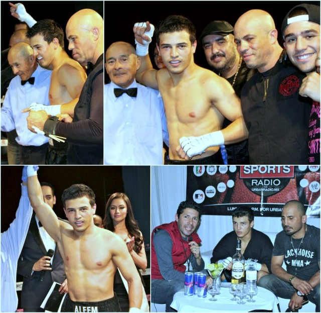 After a first round stoppage, Aleem Khan had his arm raised in victory by referee Juan Morales Lee and soon after was joined by this rather large entourage celebrating his victory. All photos: J. Wyatt