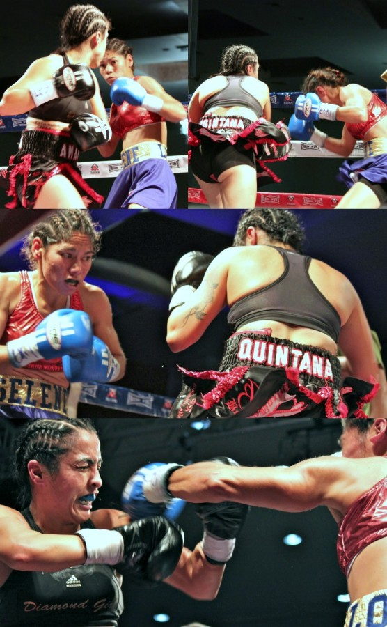 (top photo) Hiding her punch, Amaris Quintana is shown winding up to deliver a devastating overhand right to the left side of her opponent's head.