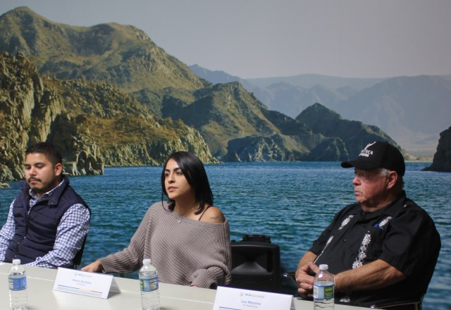 Sitting between co-promoter Lou Messina and Edrick Reyes Melendez, baja California's Director of Marketing and Tourism, is Amaris Quintana returning to action after an injury.