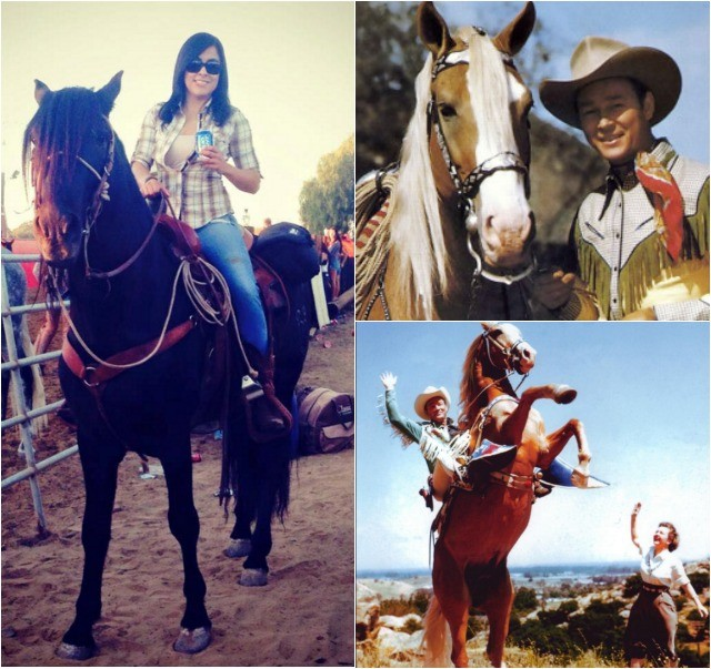 "(l) It appears cowgirl Amaris Quintana is doing a promotional pitch for a soft drink company. (r) Roy Rogers - the ""King of the Cowboys"" with his horse Trigger and wife Dale Evans who once ruled the silver screen."