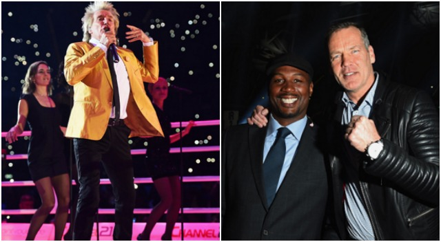 Singer Rod Stewart performs prior to the IBF IBO WBA WBO Heavyweight World Championship contest Ex-boxers Lennox Lewis (L) and Henry Maske pose prior to the IBF IBO WBA WBO Heavyweight World Championship contest between Wladimir Klitschko and Tyson Fury at Esprit-Arena on November 28, 2015 in Duesseldorf, Germany. (Photo by Lars Baron/Bongarts/Getty Images)