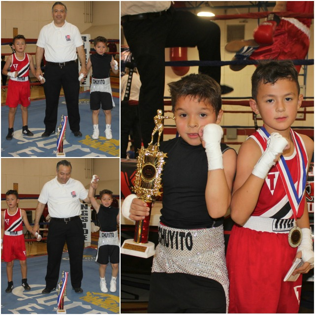 """In Bout #11, it was Jesse """"Chuyito"""" Bojorquez of San Luis Youth Center (PAL Boxing Gym), San Luis, Arizona going up against 8 year-old Jahir Romo (61 lbs., 4 bouts) of Romo's Boxing, El Centro, CA."""