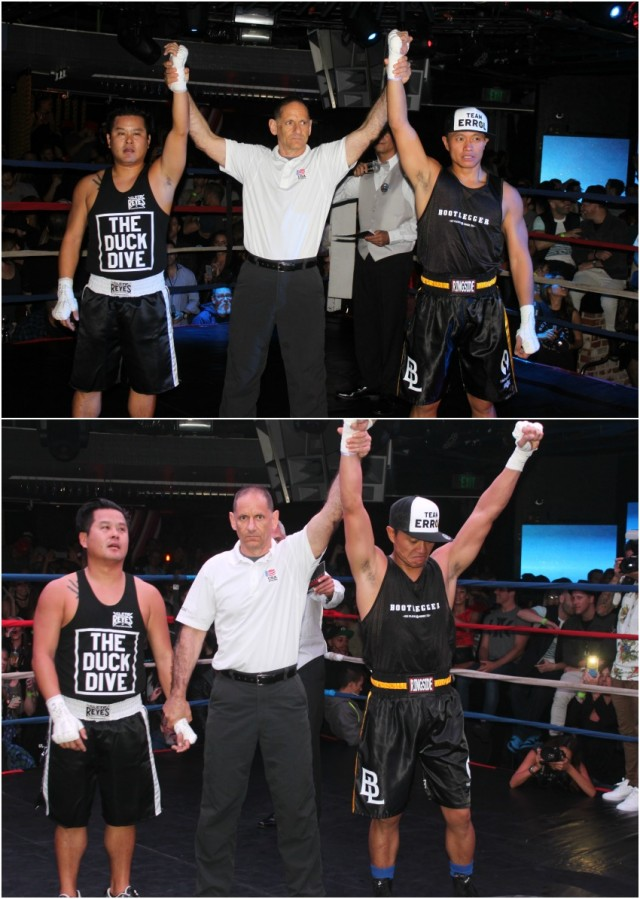 (bottom photo) At the conclusion of Bout #11, it was Errol Assuncion (right) having his arm raised in victory by referee Dana Kaplan after gaining the decision victory over Huy Hoang.