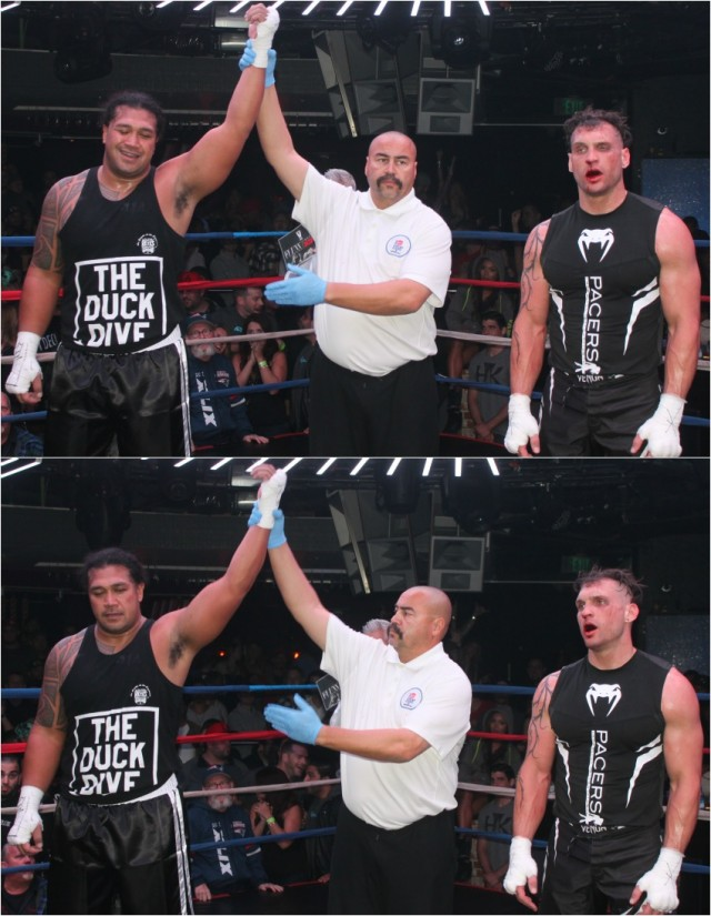 At the conclusion of Bout #13 we see referee Hondo Fontan raising the arm of the victorious Tony Tata (l) of The Duck Dive after he soundly defeated Cameron Allen of the gentleman's club, Pacers International Show Girls.