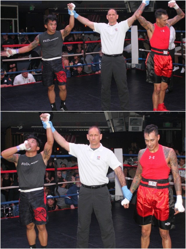 (bottom photo) At the conclusion of Bout #14, it was Ian Felicitas (l) having his arm raised in victory by referee Dana Kaplan after earning the decision victory over Andy Martinez. All photos: Jim Wyatt