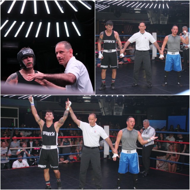 At the conclusion of Bout #4 we see Faron Rodriguez having his arm raised in victory by referee Dana Kaplan after he defeated the game Christopher Tran.