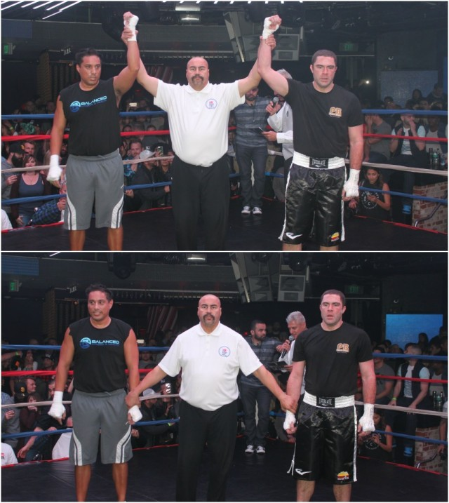 (bottom photo) At the conclusion of Bout #10 referee Hondo Fontan gets set to raise the arm of the victorious Rodrigo Iglesia (l) after his defeat of Tim Keller (r). All photos: Jim Wyatt