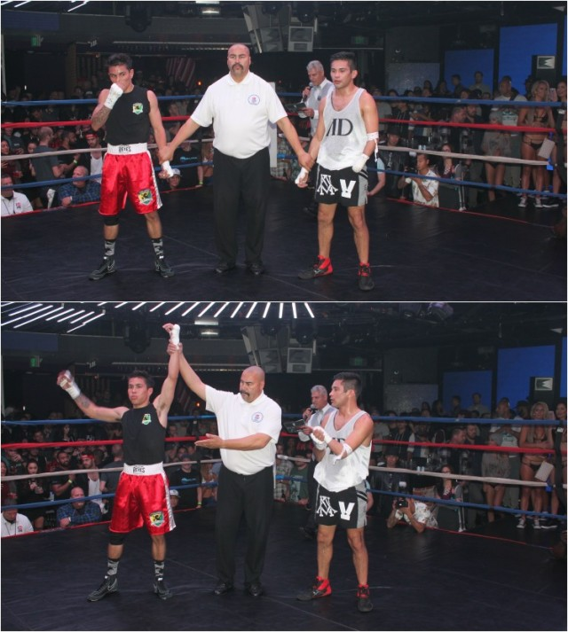 At the conclusion of bout #8 we see referee jesus Corral ovGeoff Villareal