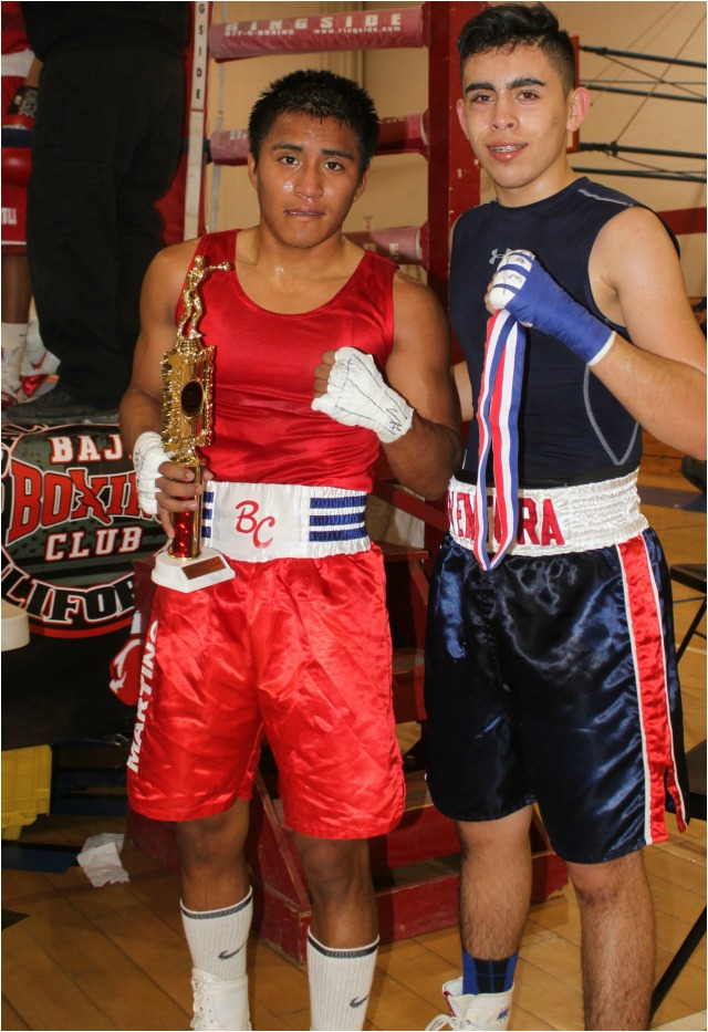 At the conclusion of their hard fought contest, the winner David Jimenez