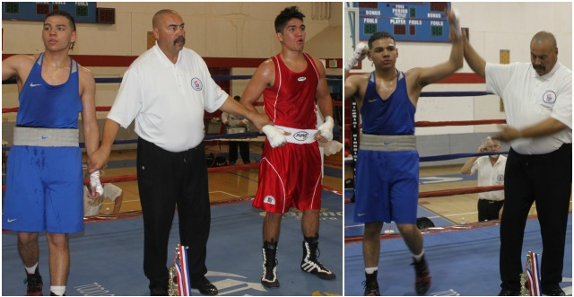 At the conclusion of Bout #9 we see referee Hondo Fontan raising the arm of the victorious