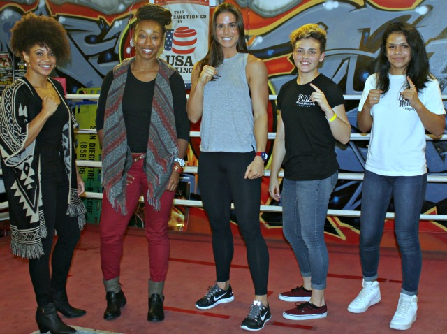 Different stages of competition: The three ladies on the left (l to r) Stalacia Leggett, Raquel Miller and Danyelle Wolf competed in the 2015 Olympic Trials, while the young ladies on the right, (l to r) Andrea Medina and Jessica Juarez