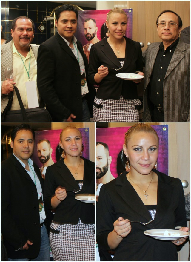 Put the fork down: Zulina Munoz has her whole crew standing by promoter Victor Zavalza, manager Jose Luis Camarillo, and chief trainer Mauro Ayala.