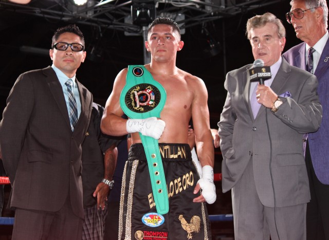 The undefeated Giovani Santillan with another championship belt over his shoulder.