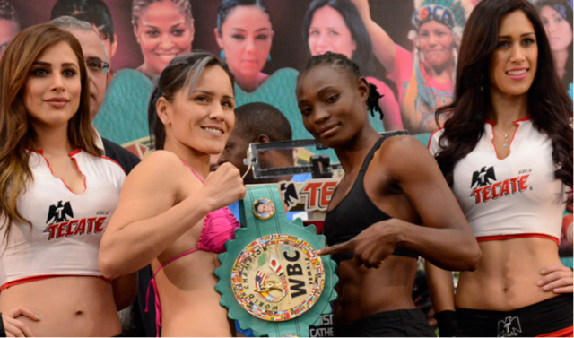 "WBC bantamweight champ Yazmin ""La Rusita"" Rivas who is making her fifth defense of her title at the Convention Center Rosarito against the Zambian fighter Catherine Phiry"
