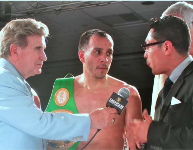 Here we see Christopher Martin being interviewed by the former World Super Bantamweight ChampionIsrael 'Magnífico' Vázquez after another of Martin'sbig wins at the Doubletree Hotel in Ontario, Calif. All photos: J. Wyatt